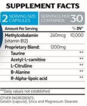 NeuropAWAY ingredients label