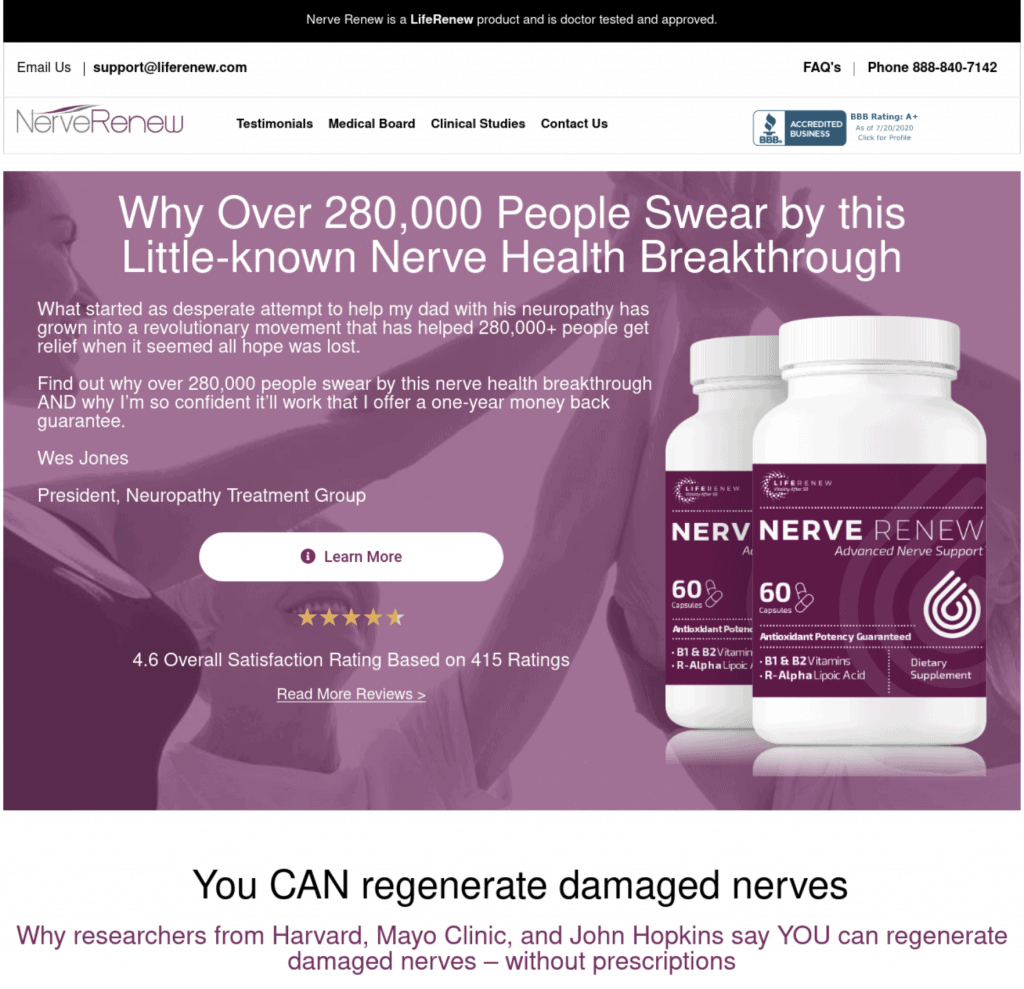 Life Renew is the company behind Neuropathy Treatment Group website